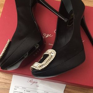 4d7b19bbc1b7 Roger Vivier Shoes - New Black Limelight Satin Crystal-Buckle Pump